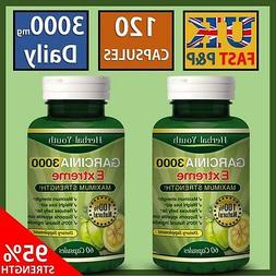 **2 BOTTLES** 3000mg Ultra Pure GARCINIA CAMBOGIA Lose Weigh