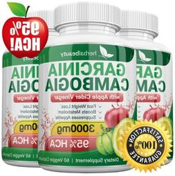 3 x Herbal Beauty GARCINIA CAMBOGIA 95% + APPLE CIDER VINEGA