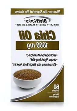 DietWorks Chia Oil Softgels, 1000mg, Rich Source of Omega 3s