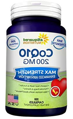 aSquared Nutrition CoQ10 - 200 Capsules - High Potency 200mg