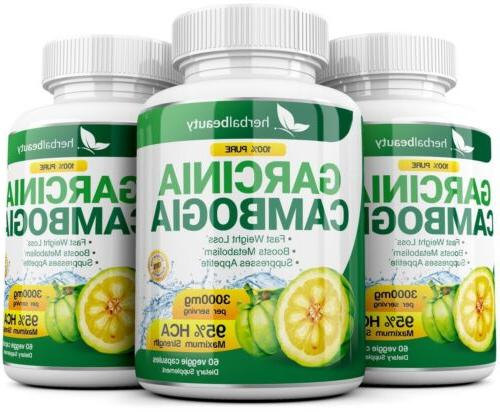 3 BOTTLES 180 Capsules Daily CAMBOGIA HCA Weight Loss Diet