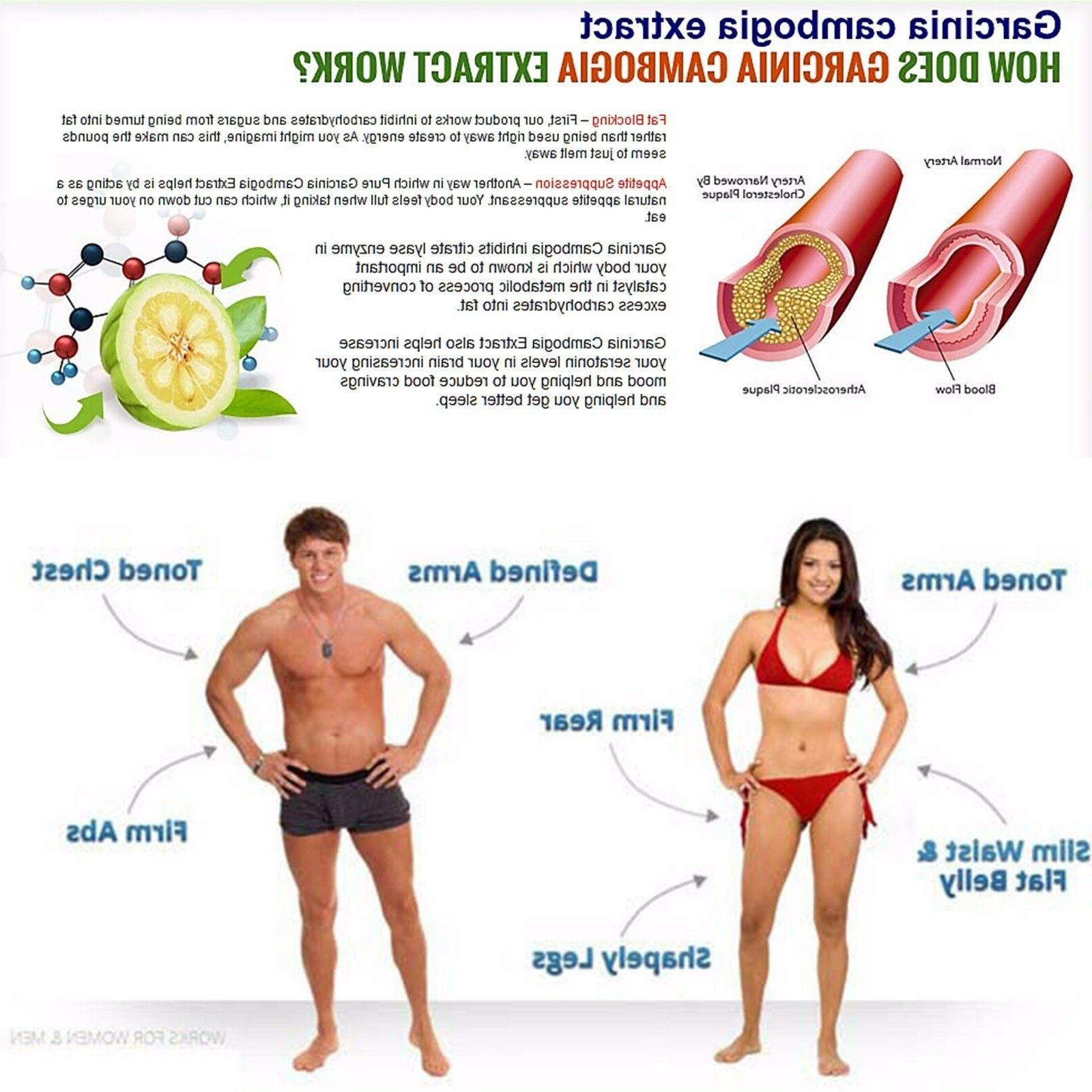 4 Pack Garcinia Cambogia Extract Natural Weight Loss Diet FAT