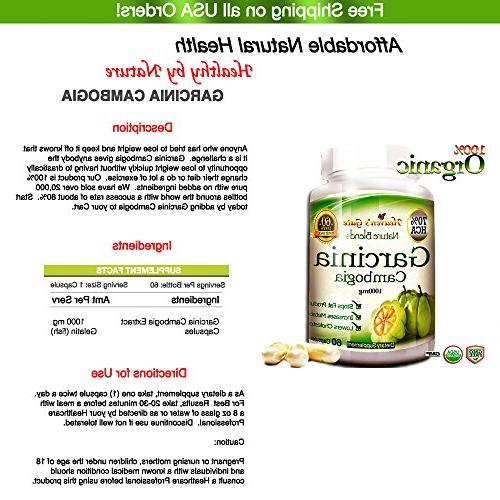 6 Garcinia Cambogia Extract - Weight - - 1000 - 70% HCA GMO and Free - 360 Month Supply Shipping
