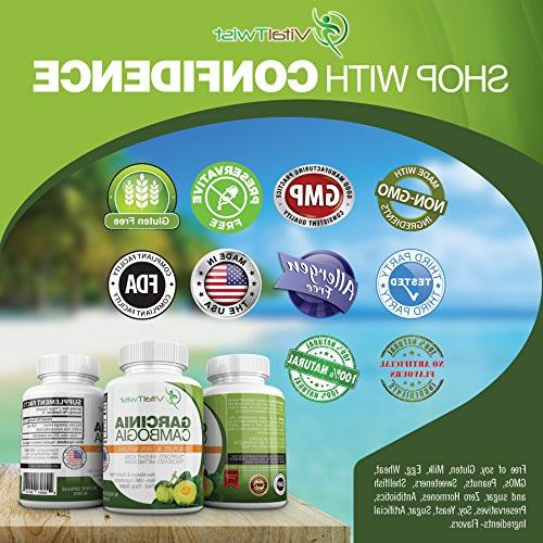 VitalTwist Garcinia Pure Extract, Diet Pills, Extra Dietary for Weight Loss, Appetite, Stress Relief, Gluten-Free