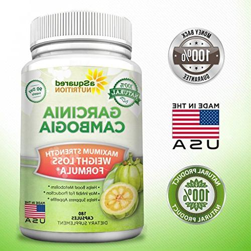 100% Pure Garcinia Extract - 180 Capsule Pills, Natural Loss Diet Ultra Strength HCA, Max XT Detox Tablet for Men Women with Lean!