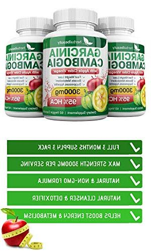 Pure Cambogia & Cider 3000mg Natural Weight Loss, Digestion & Circulation - Weight Loss Supplement