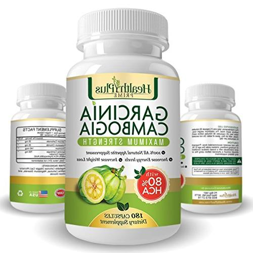 80% PURE GARCINIA CAMBOGIA PREMIUM EXTRACT Natural WEIGHT LOSS Supplement Formula. 180 Ultra Easy Swallow Pills. Manufactured USA Plus Clean Eating E-Book!