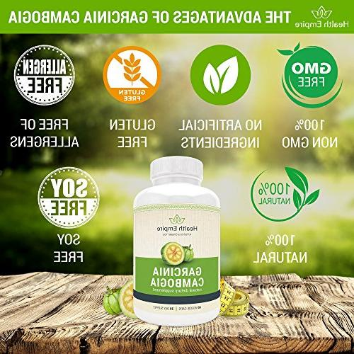 Pure w/ 60% HCA Luxury Cambogia Garcinia Cambogia Pure Extract Capsules for Metabolism Support - Gluten - Made in