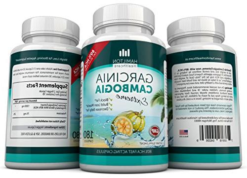 80% Garcinia Cambogia Extract 3 X 180 All Hamilton 4500mg Day Maximum Pack