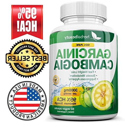 Pure Cambogia Extract - HCA 3000mg Capsules - Best Loss - Burn for - 3 Supply