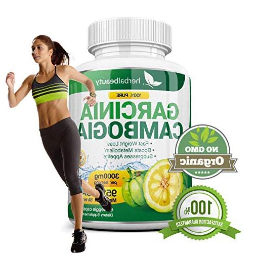 Pure Garcinia Cambogia - 95% HCA Capsules Weight Loss Fat Highest for Men - 3 Supply