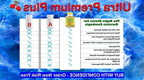 Strongest Pure 95% Extract Cambogia Fat Burner & Appetite Suppressant. All Natural Pills by Ultra Plus